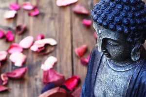 A Buddha statue is shown with pedals of soft pink and red flowers sitting in the background.