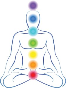 A computer generated image of a person is shown with the seven chakras located throughout their body.