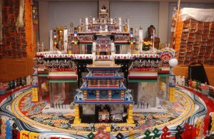 An image is shown of the large structure that is known as the Kalachakra Mandala.