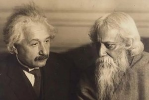 Albert Einstein is shown pictured with Rabindranath Tagore, a famous Hindu poet.