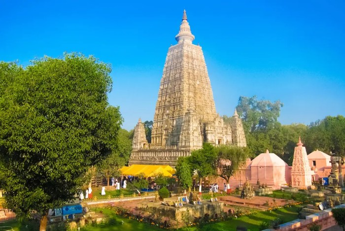 The Mahabodhi Temple in Bodh Gaya, India is shown. It is believed to be the site where Gautam Buddha attained enlightenment and one of the sacred cities of India.
