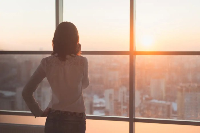 An image shows a female CEO looking out her window as the sun sets down over her city. This image represents the idea that becoming the CEO of ourselves will ultimately lead to business success.