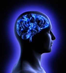 A conceptual image of a man from side profile shows his brain and brain activity. This image represents the idea that the brain's Default Mode Network causes it to think all the time.