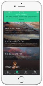An image shows an iPhone with the Pacifica App opened to the Guided Paths feature.