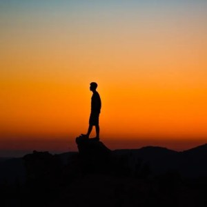 The silhouette of a man is shown standing on a rock with a orange sky behind him. This image represents the idea that our happiness is depending upon our ability to validate our own worth.