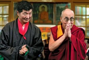 An image shows Lobsang Sangay and the 14th Dalai Lama standing side by side. Sangay has taken over the political leadership responsibilities for Tibet.