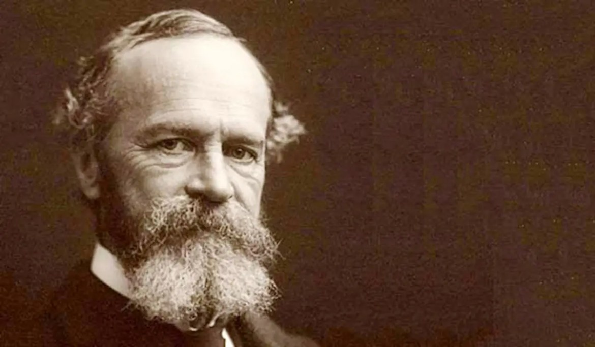 An image shows a head-shot of American philosopher and psychologist William James. This picture serves as the featured image