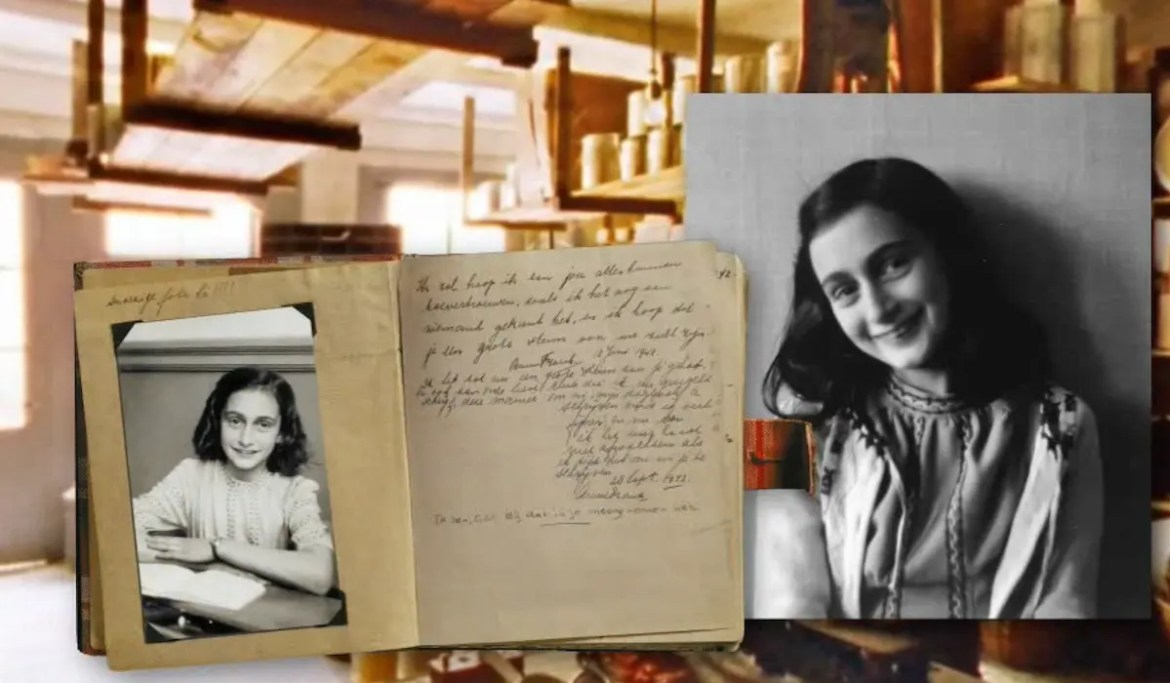 A collage of images is seen with the background being Anne Frank's apartment in Amsterdam with one image of her and another of her diary being shown in the foreground.