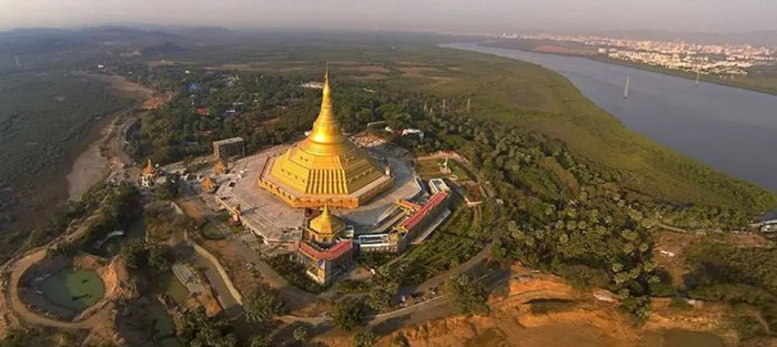 An areal image shows the Global Vipassana Pagoda built by S.N. Goenka outside of Mumbai.