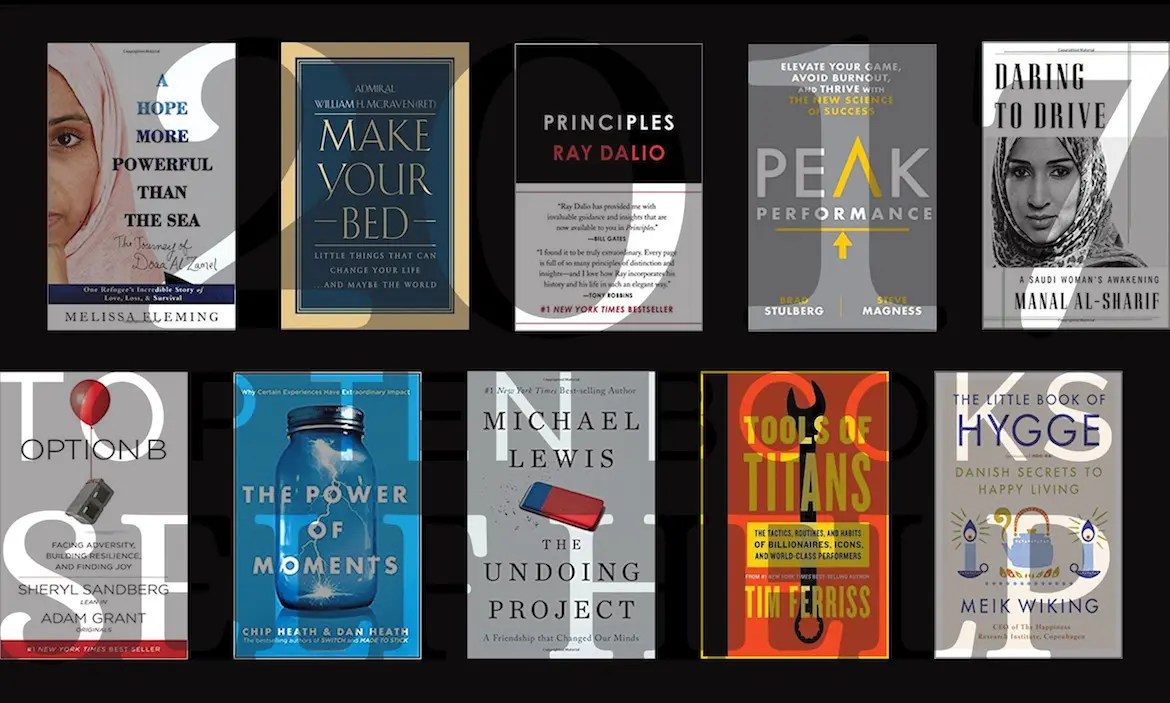 An image shows a collage of the 10 book covers that made list of Balanced Achievement's top 10 self book of 2017.