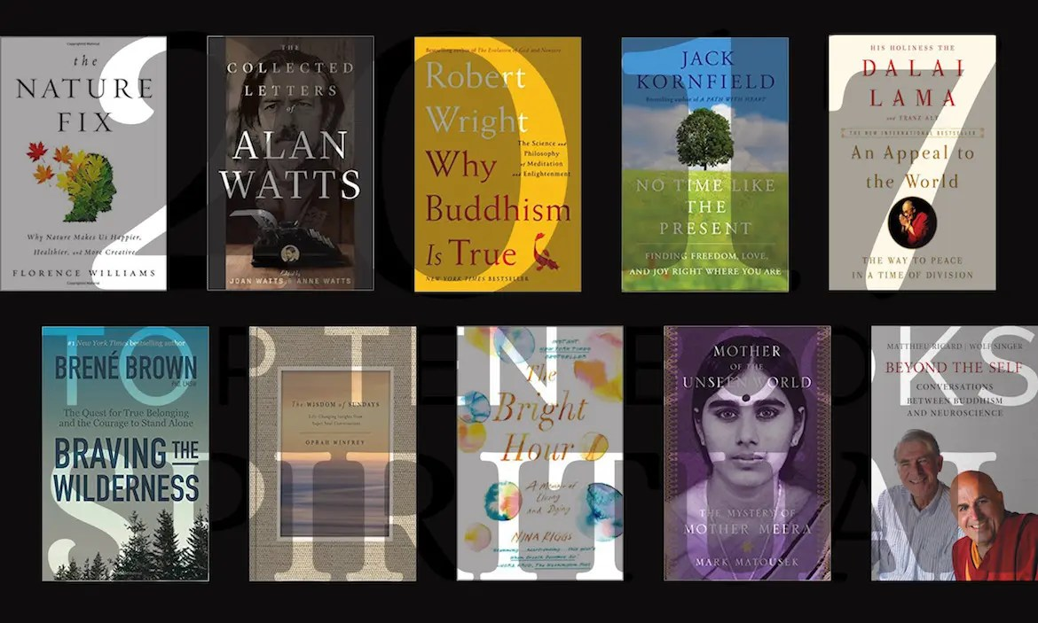 An image shows a collage of the 10 book covers that made list of Balanced Achievement's top 10 Spirituality Books of 2017.