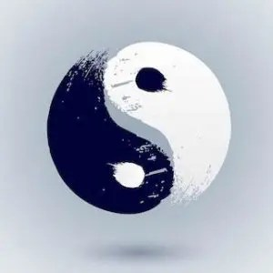 An image shows a computer generated image of a black and white yin-yang symbol. This picture is used in Balanced Achievement's article titled 'The yin and yang of stillness and flow'.