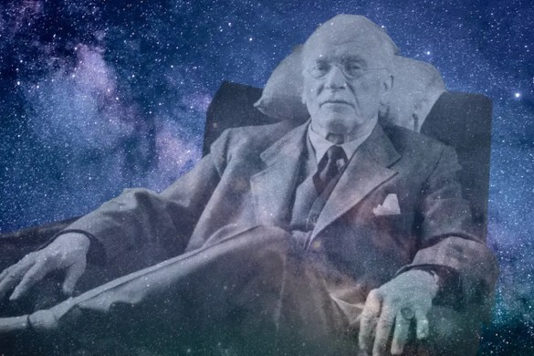 A computer generated image shows a picture of famed psychologist blended in with a background of a star filled sky. This picture is used as the featured image of Balanced Achievement's article titled '20 Carl Jung Quotes That Spark Conscious Contemplation.'