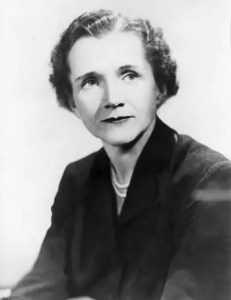 A headshot image of Rachel Carson, who along with other famous naturalists illuminated the wisdom that can be found in nature, is pictured.