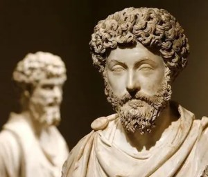 An image shows a statue of the iconic Stoic philosopher Marcus Aurelius.