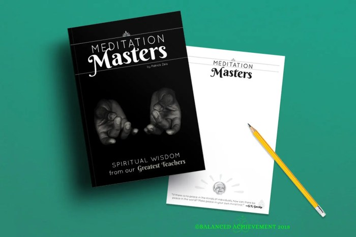 An image shows the Meditation Masters Spiritual Seeker Bundle which is offered on Balanced Achievement's Etsy shop.