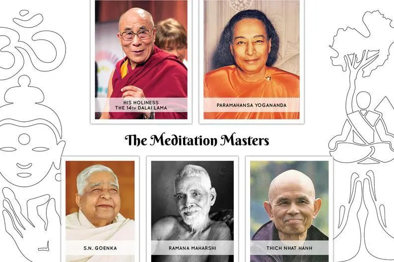 An image shows the 5 iconic meditators featured in Meditation Masters: Spiritual Wisdom From Our Greatest Teachers. They are His Holiness the 14th Dalai Lama, Paramahansa Yogananda, S.N. Goenka, Ramana Maharshi, and Thich Nhat Hanh.