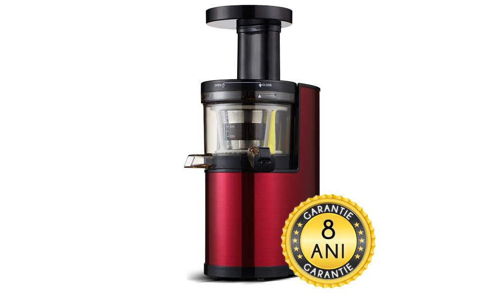 Slow Juicer/Storcator presare la rece pentru fructe si legume rosu - 8 ani garantie