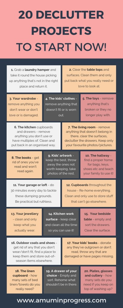 20 declutter projects you can start right now infographic