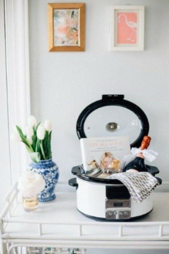 DIY bridal shower gift basket using crock-pot.