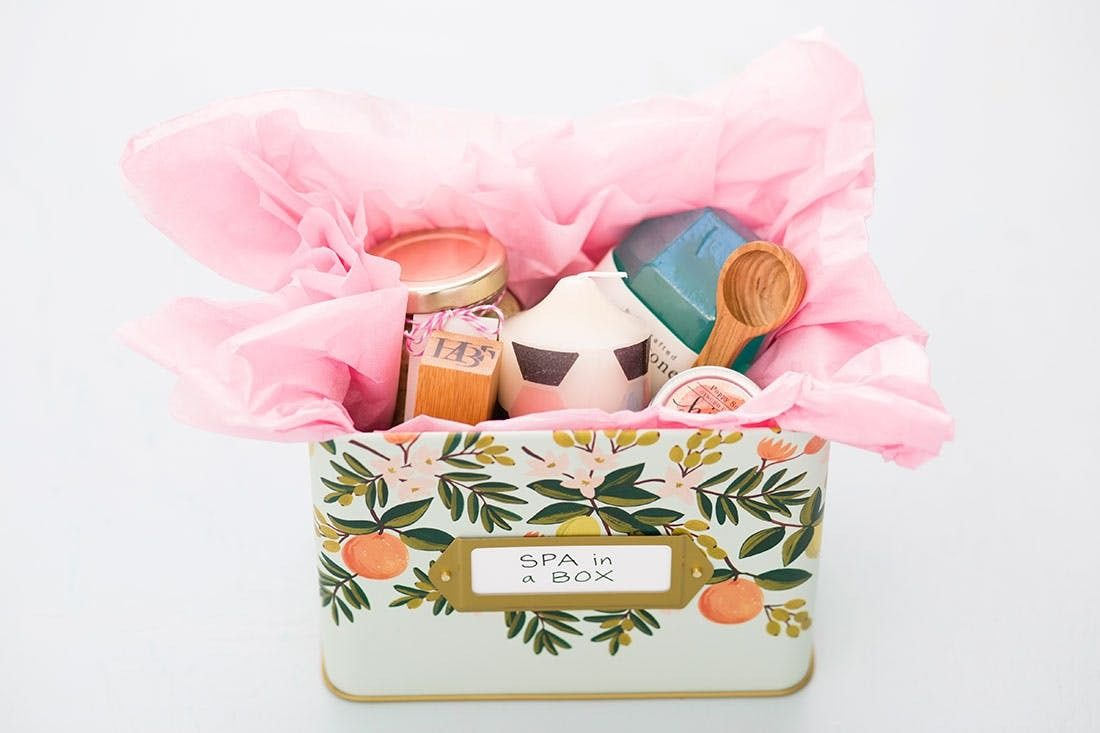 DIY Spa Gift Basket with Bath Scrubs and Candle