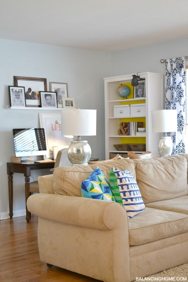 Blue Green Yellow Living Room With Diy Stenciled Ds