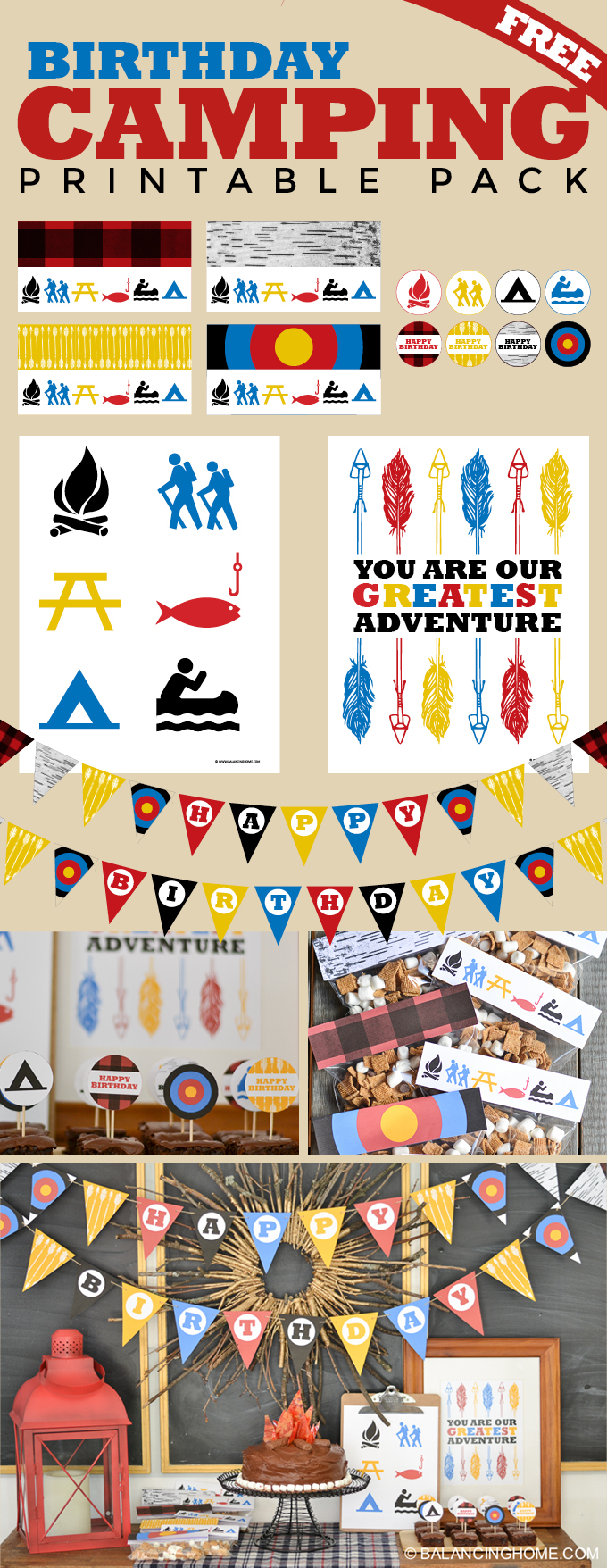 Camping Birthday Party Printables Balancing Home With