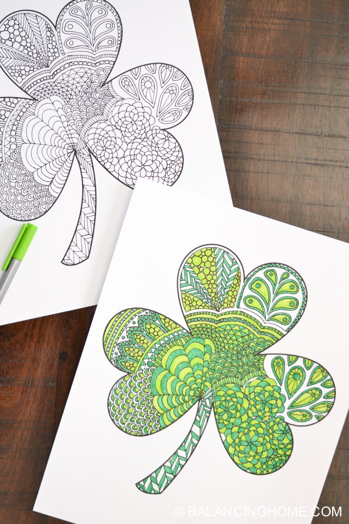 Shamrock Coloring Printable Balancing Home