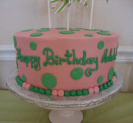 pink and green polka dot birthday cake