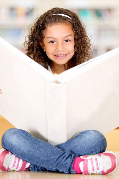 girl with large book