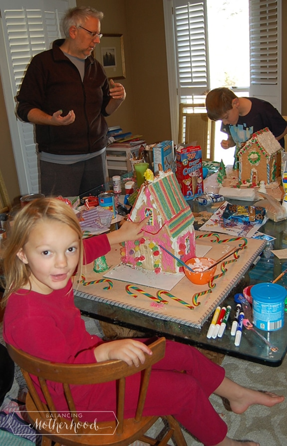 Making gingerbread houses is a messy business.