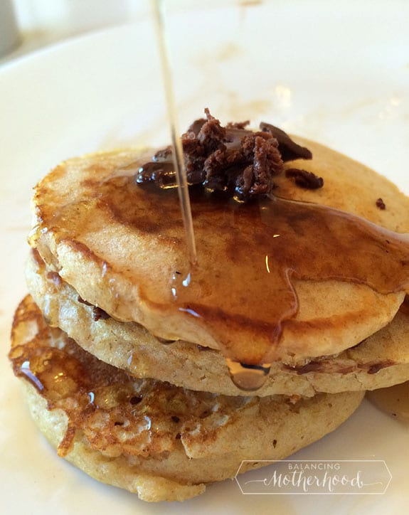 chocolate butter on whole wheat pancakes with maple syrup -- YUM!