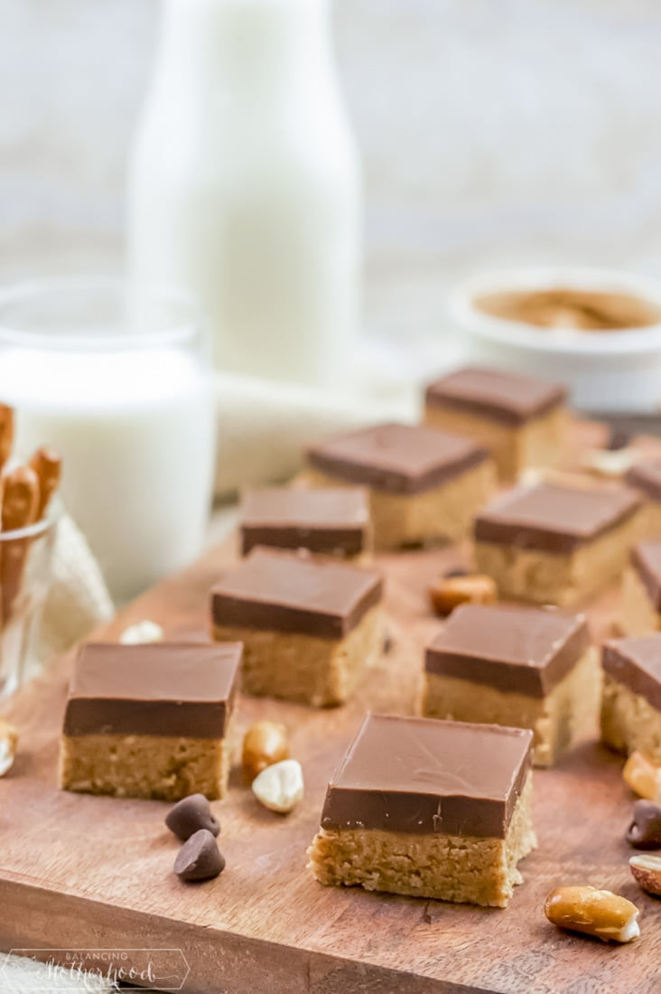 peanut butter bars on cutting board