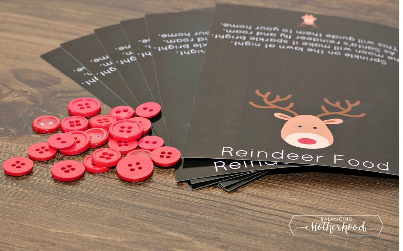 reindeer food printable with red buttons
