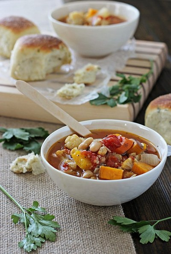 Roasted Vegetablle Soup with Couscous