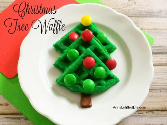 green waffles in the shape of a Christmas tree