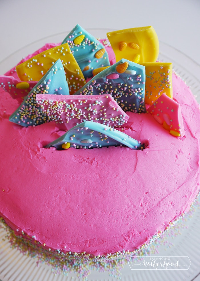 I Used Bright Pink For The Buttercream And Colored Chocolate Candy Pieces That Made On Top