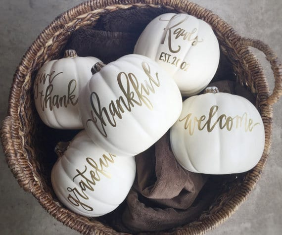 decorate with these custom white pumpkins