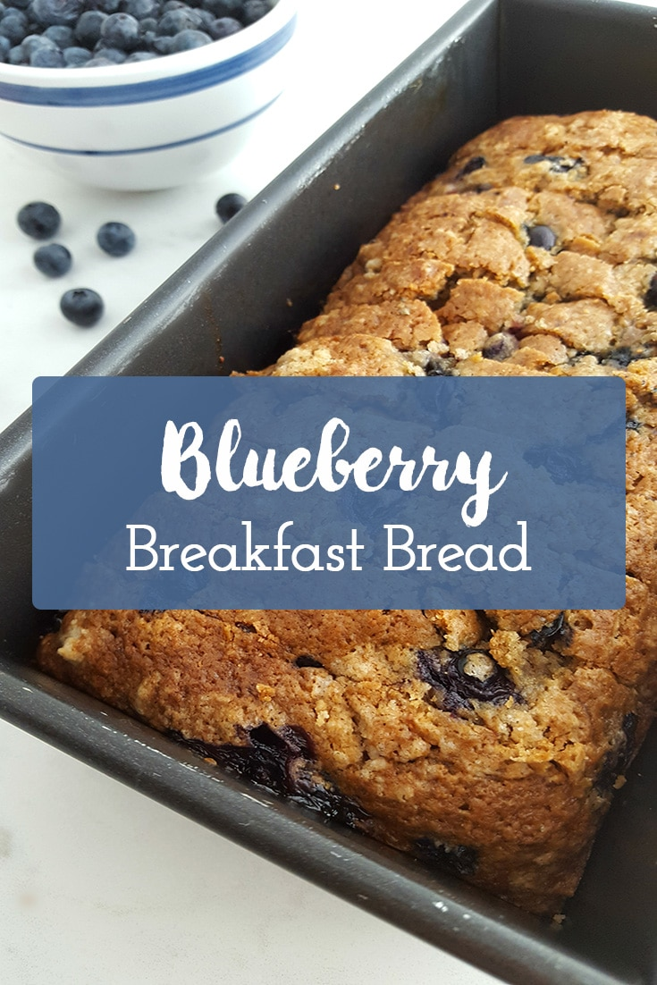 Blueberry Breakfast Bread recipe. This from-scratch recipe will become a family favorite! It's the perfect breakfast bread for an on-the-go meal or a sweet treat, or afternoon snack. #blueberrybread #blueberry #breakfast