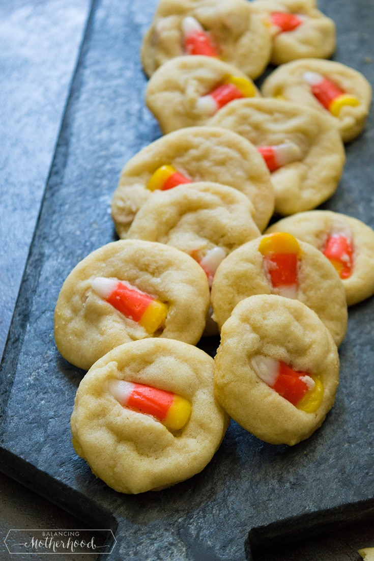 Candy Corn Sugar Cookies on tray