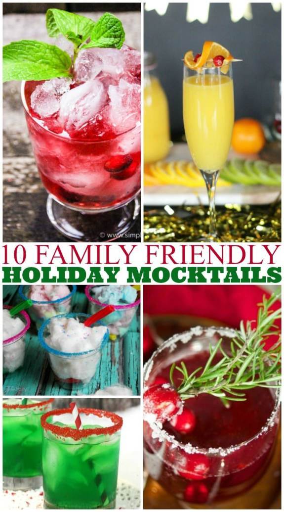 10 family-friendly holiday mocktails. Non-alcoholic drinks everyone can enjoy for Chrstmas and the holiday season.