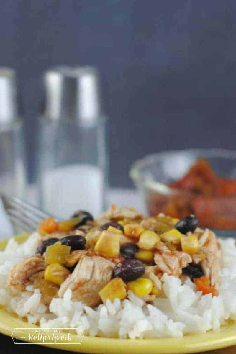 plate of southwest chicken over rice