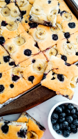 Enjoy breakfast with these 5 sheet pan blueberry pancakes!