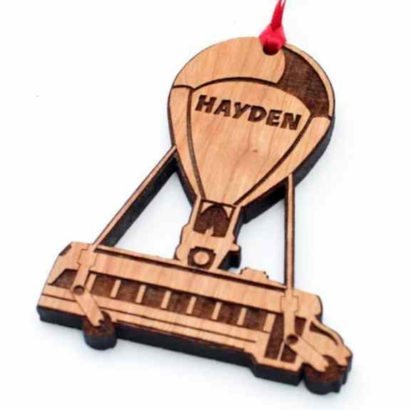 Wooden Fortnite battle bus Christmas ornament