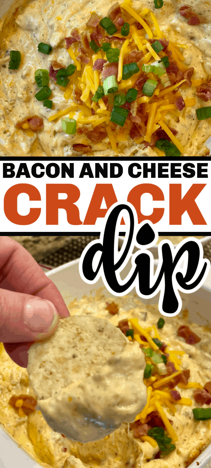 This crack dip recipe is the most addictive dip there is - hence the name! It's a warm and cheesy dip full of ranch flavors with the amazing bacon flavor added in!