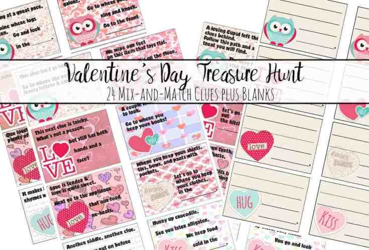 Free Printable Valentine's Day Treasure Hunt: 24 Clues plus Blanks