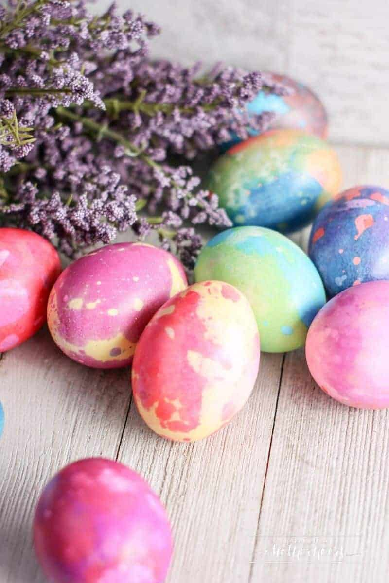 colorful marbled easter eggs