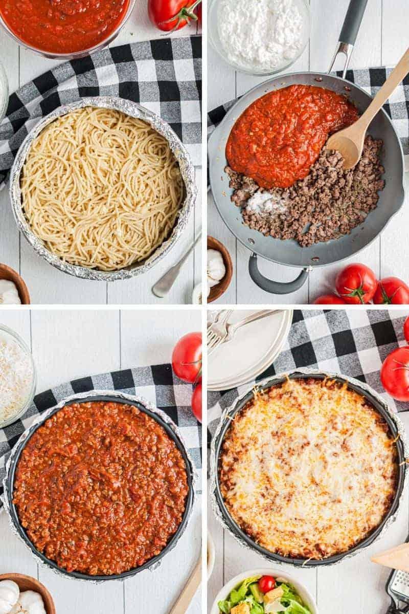making spaghetti pie