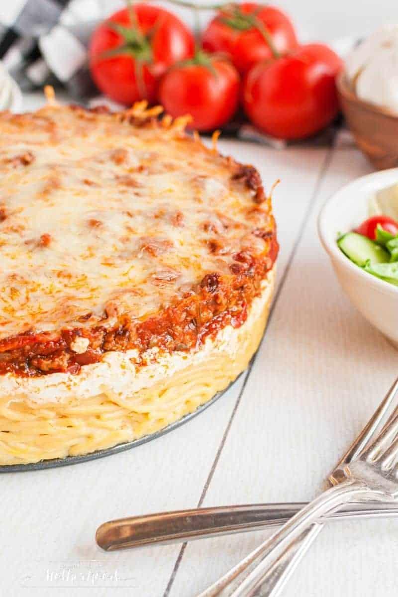 full spaghetti pie on table