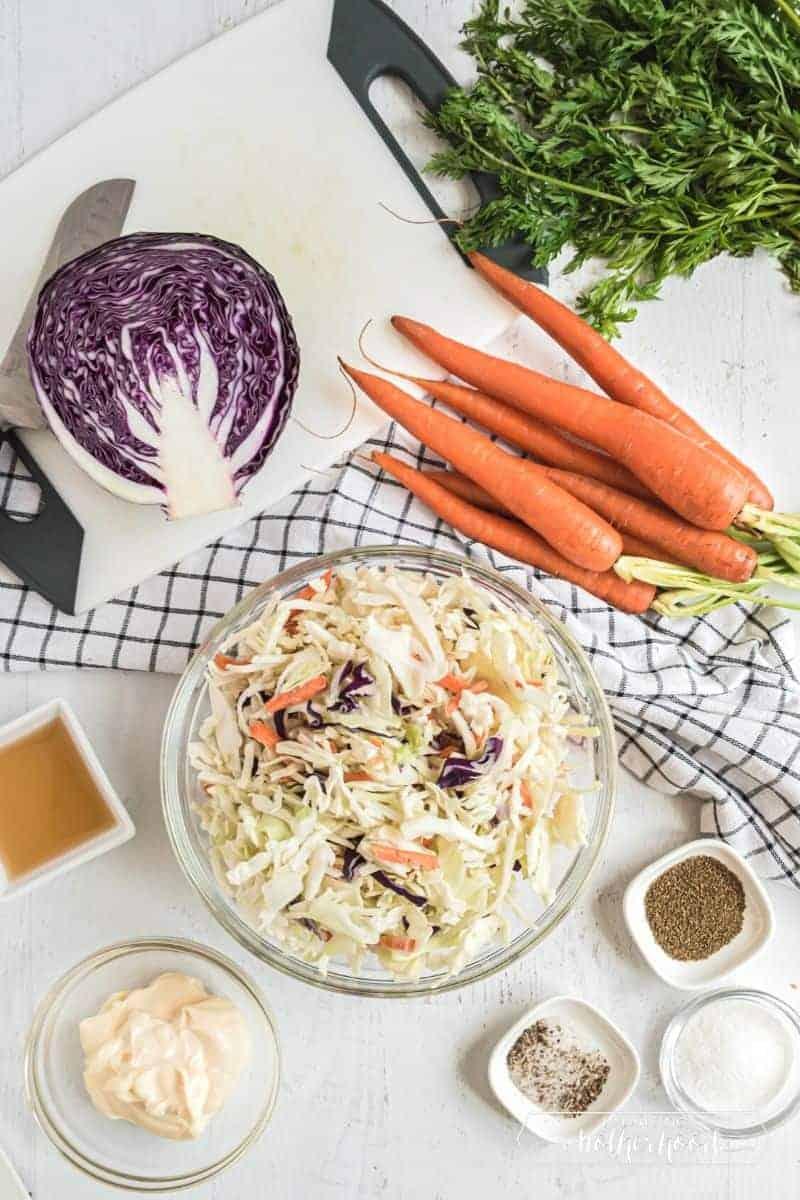 cabbage, carrots, mayonnaise, and seasonings